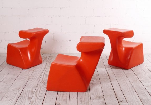 Amorphic Plastic Zocker Chair by Luigi Colani, 1970s