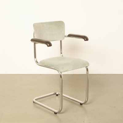 Tubax floating tubular frame chair in pale moss green-blue
