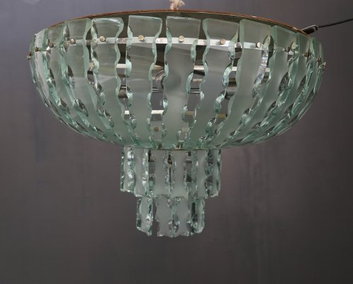 Large glass & steel chandelier by Zero Quattro Milano, 1960s