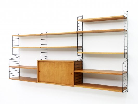 Large Teak Wall System by Nisse Stringing, 1950s