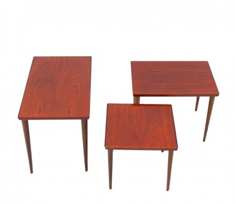 Set of 3 rosewood nesting tables, 1960s