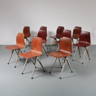 Stock of Pagholz dining chairs by Galvanitas, the Netherlands 1960s