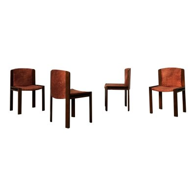 Set of 4 Joe Colombo Midcentury Walnut 'Model 300' Dining Chairs for Pozzi, 1966