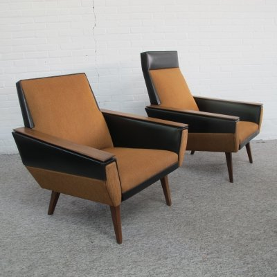 Pair of vintage lounge chairs with skai, fabric & teak, 1960s