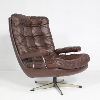 Mid-Century Danish Leather Easy Lounge Chair, 1960s