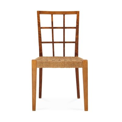 Set of 6 chairs by Paolo Buffa in wood & rattan, 1950s