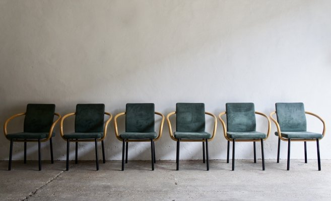 Set of 6 Mandarin Chairs by Ettore Sottsass for Knoll, 1980s