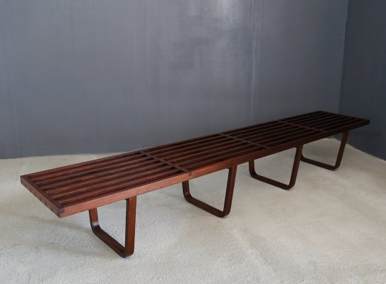Rare Mid Century Bench in Mahogany wood, 1950s