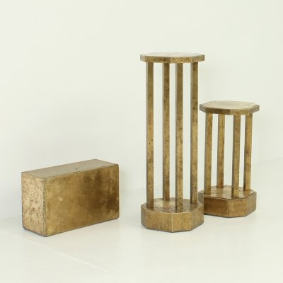 Set of Three Pedestals in Brass by Rodolfo Dubarry