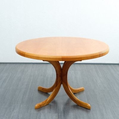 Midcentury round cherrywood dining table, 1960s