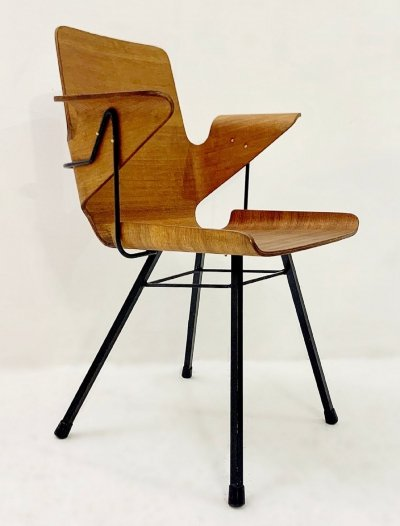 Plywood & Iron Armchair, Italy 1960s