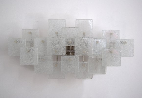 Ice Glass Wall Lamp by Kalmar Franken AG, 1970s
