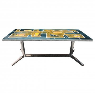 Decorative Art Tiled & Chrome Base Coffee Table, 1960s