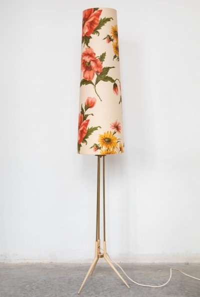 Midcentury Standing Lamp with Floral Shade, Italy