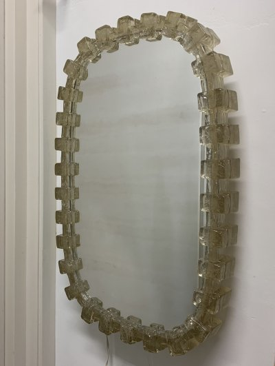Vintage illuminated mirror by Hillebrand, 1960's