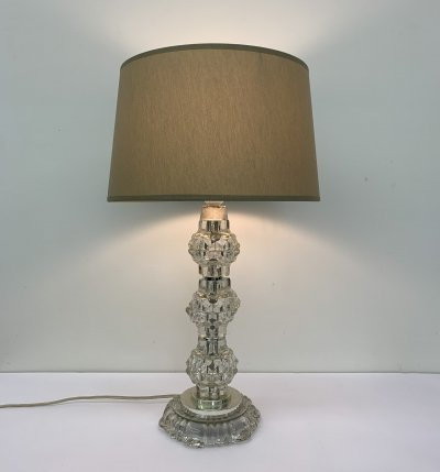 Vintage Hollywood regency table lamp with crystal base, 1960's