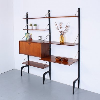 Teak & black modular wall unit with desk by Louis van Teeffelen for Wébé, 1950s