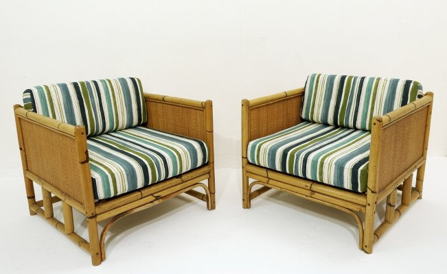Pair of armchair in bamboo, 1970s
