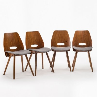 Set of 4 Tatra chairs by F. Jirak, 1960's