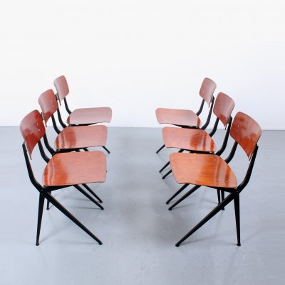 Set of 6 Compass dining chairs by Ynske Kooistra for Marko Holland, 1960s