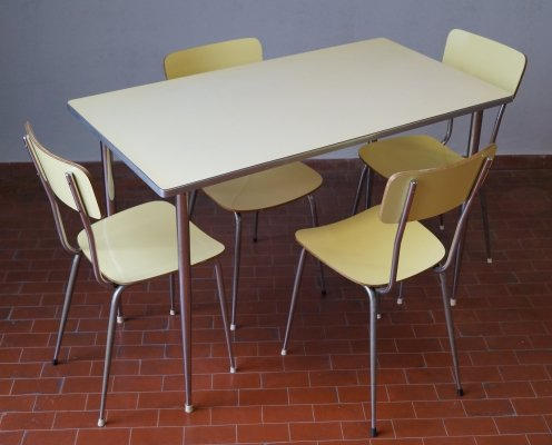 Dining set with table & 4 chairs, 1970s
