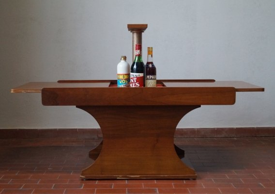 Coffee table with retractable bottle holder, 70s