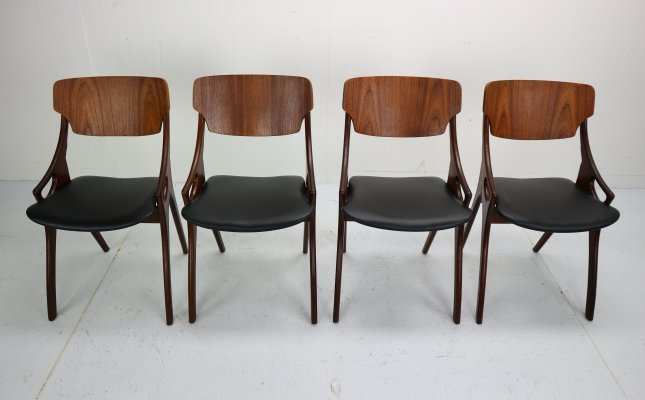 Set of 4 Arne Hovmand Olsen for Mogens Kold Dining Room Chairs, Denmark 1960s