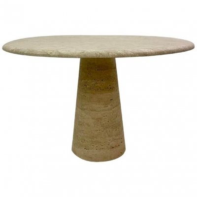 Round Dining Table in Travertine, 1960s