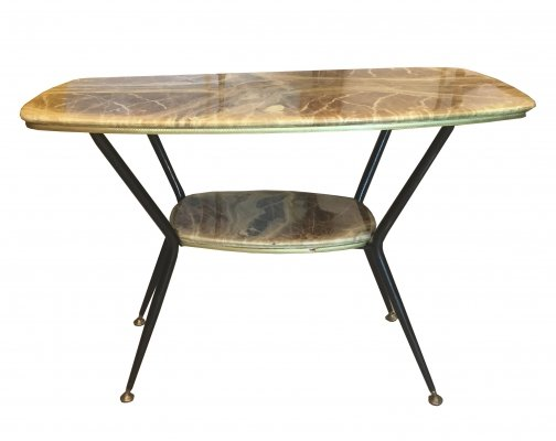 1950s Coffee table with two shelves in marbled wood