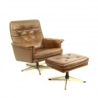 Scandinavian Vintage Leather Swivel Armchair with Ottoman, 1970s