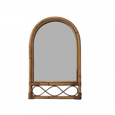 Bamboo & Cane Oval Top Mirror, 1970s