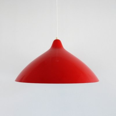 Red metal pendant lamp by Lisa Johansson-Pape for Stockmann Orno, Finland