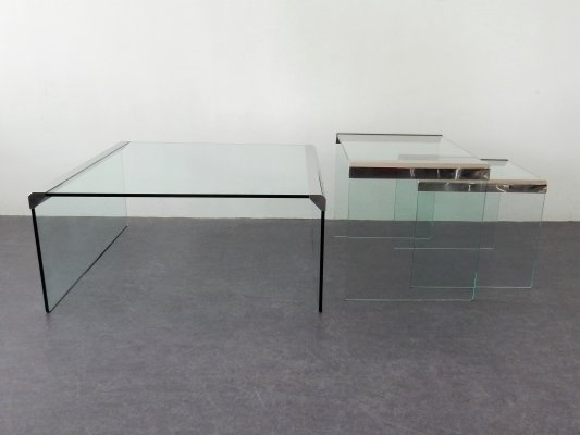 Set of 3 nesting coffee tables by Pierangelo Gallotti for Gallotti & Radice