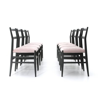 Set of 8 Black & pink 'Leggera' chairs by Gio Ponti for Cassina, 1950s