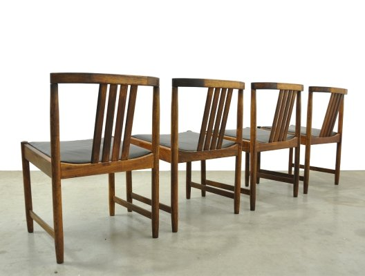 Set of 4 Scandinavian Rosewood dining chairs by Illum Wikkelsø, Denmark 1960s