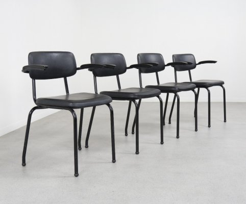 Set of 4 industrial stacking chairs by Ahrend, NL 1970s