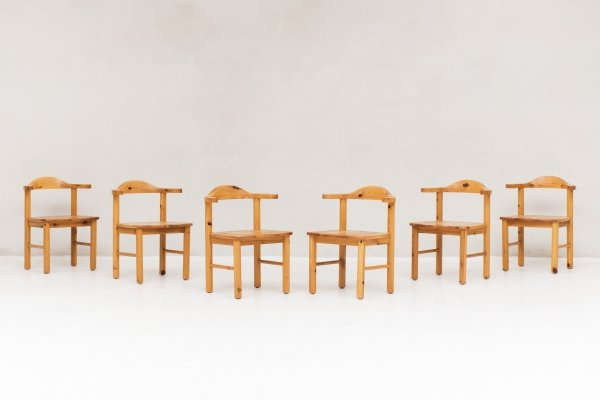 Set of 6 pine dining chairs, Denmark 1960