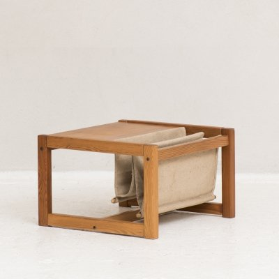 Side table in pine with canvas magazine holder, Denmark 1960