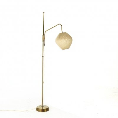 Brass Floor Lamp with Pleated Lampion Shade, 1950s