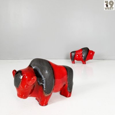 Two West German Pottery bulls by Kurt Tschörner, 1970s