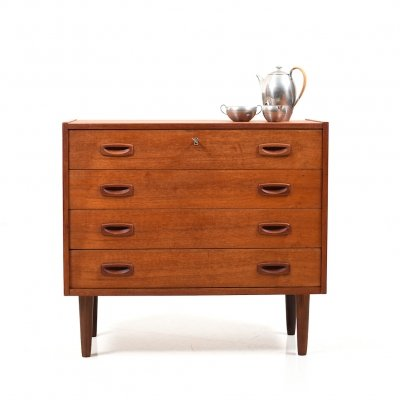 Early Danish Teak Wooden Chest of Drawers