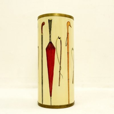 Fornasetti Umbrella Stand With Cane And Umbrella Motif, 1950s