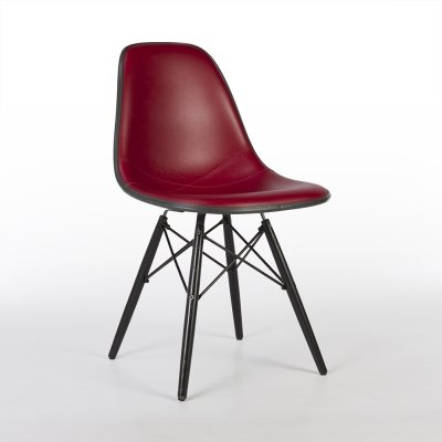 Red Vinyl Herman Miller Original Eames DSW Dining Side Chair