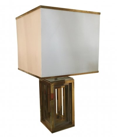 Chrome & Brass Table Lamp by Romeo Rega, 1970s