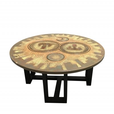 Mid century carved wooden coffee table, 1960s