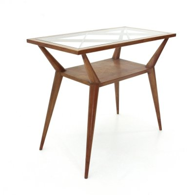 Italian mid-century console with glass top, 1940s