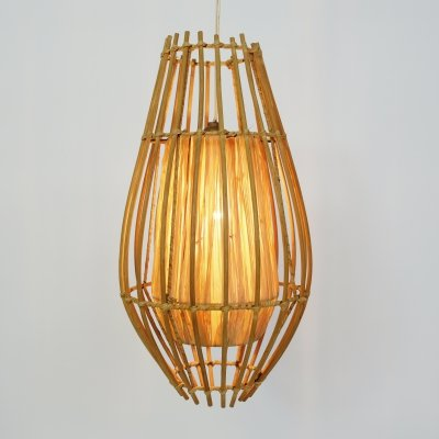 Rattan & raffia pendant from the 1960s-1970s