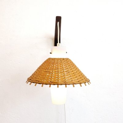 Teak glass & wicker Danish wall lamp, 1960s-1970s