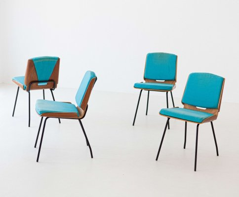 Four 'Lucania' dining chairs by Giancarlo De Carlo for Arflex, 1954