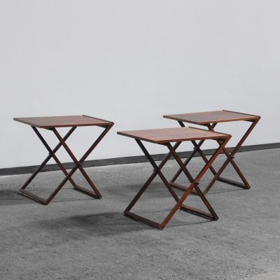 3 rosewood folding side tables by Illum Wikkelsø for CFC Silkeborg, Denmark 1950s